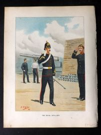 Richards Her Majesty's Army 1890 Military Print. Royal Artillery